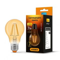LED лампа VIDEX Filament A60FA 7W E27 2200K 220V бронза, E27, 2200K, 630Lm, 7W