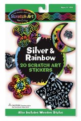 MD5824 Silver & Rainbow Scratch Art Stickers (Набор наклеек-царапок)