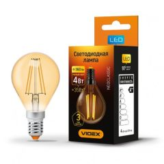 LED лампа VIDEX Filament G45FA 4W E14 2200K 220V бронза, E14, 2200K, 360Lm, 4W