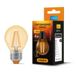 LED лампа VIDEX Filament G45FA 4W E27 2200K 220V бронза, E27, 2200K, 360Lm, 4W